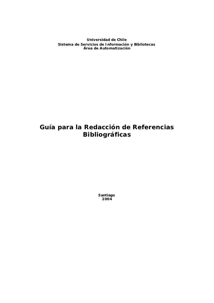 Universidad de Chile      Sistema de Servicios de Información y Bibliotecas                  Área de Automatización     Gu...
