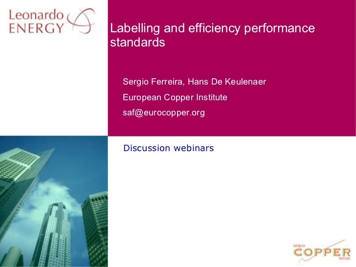 Discussion webinars Labelling and efficiency performance standards