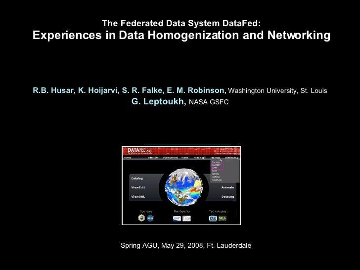 2008-05-27: Spring AGU, DataFed Best Practices