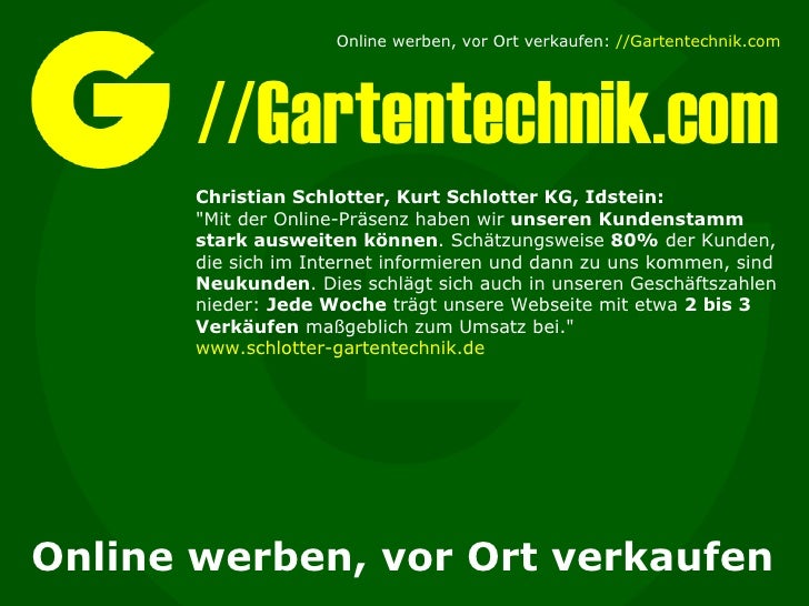 """//Gartentechnik.com Online werben, vor Ort verkaufen Christian Schlotter, Kurt Schlotter KG, Idstein: """"Mit der Online..."""