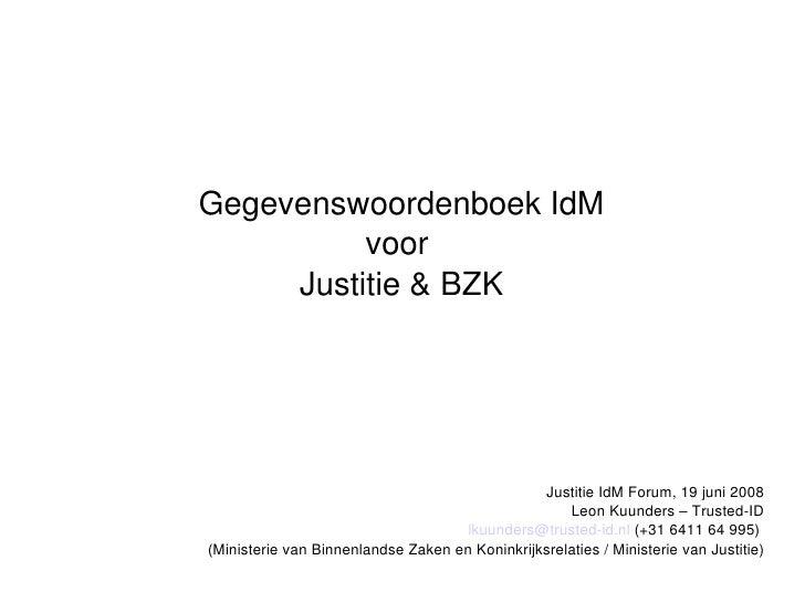 Gegevenswoordenboek voor Identity Management
