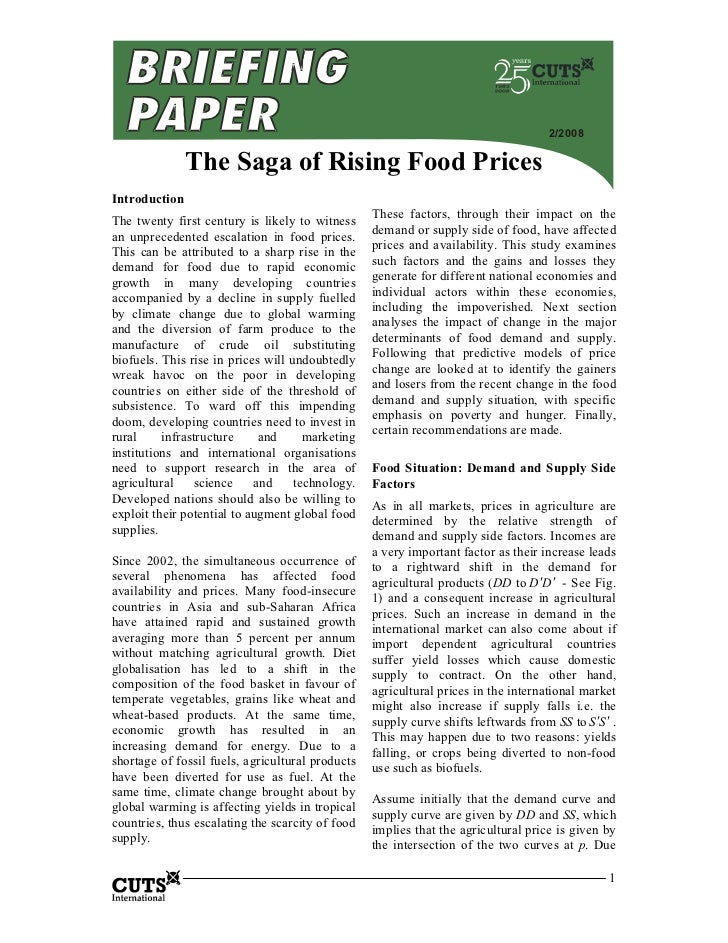 2/2008               The Saga of Rising Food PricesIntroduction                                                  These fac...