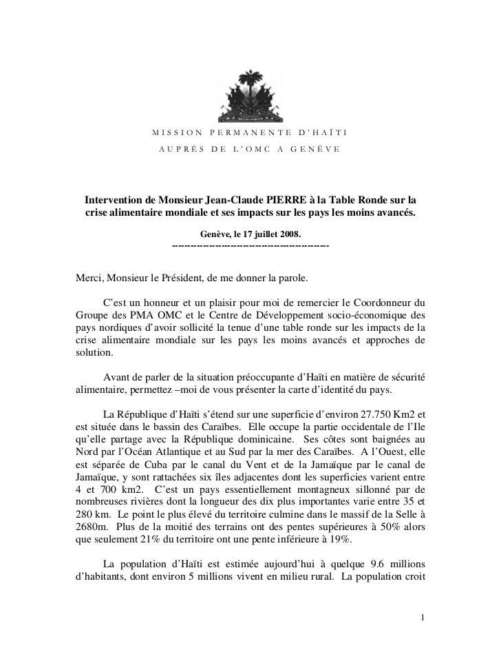MISSION PERMANENTE D'HAÏTI                   AUPRÈS DE L'OMC A GENÈVE  Intervention de Monsieur Jean-Claude PIERRE à la Ta...