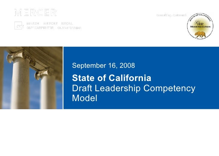 State of California  Draft Leadership Competency Model September 16, 2008
