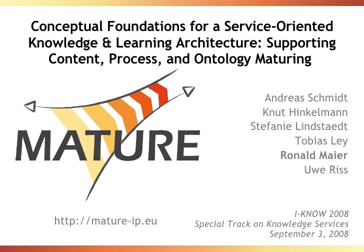 Conceptual Foundations for a Service-Oriented Knowledge & Learning Architecture: Supporting Content, Process, and Ontology...