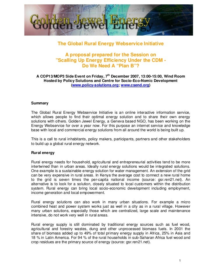 """The Global Rural Energy Webservice Initiative                  A proposal prepared for the Session on               """"Scall..."""