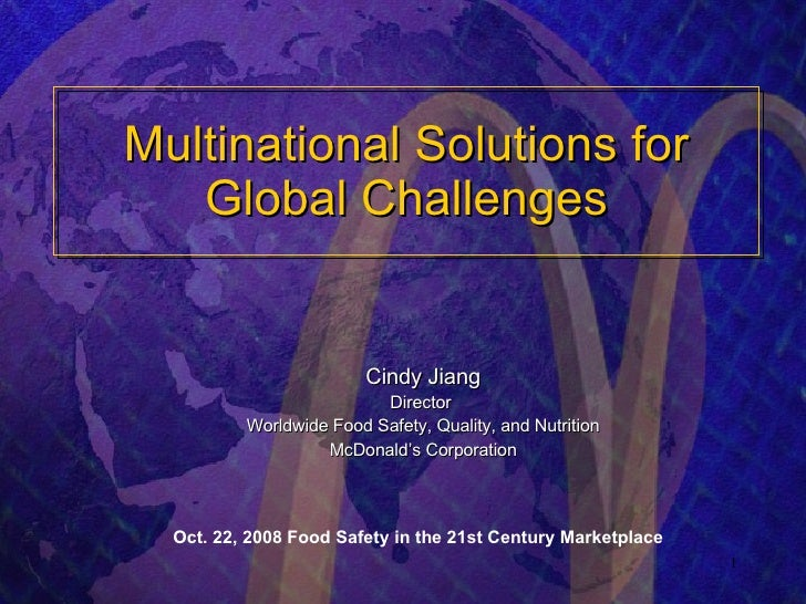 Multinational Solutions for Global Challenges -- McDonald\'s Presentation