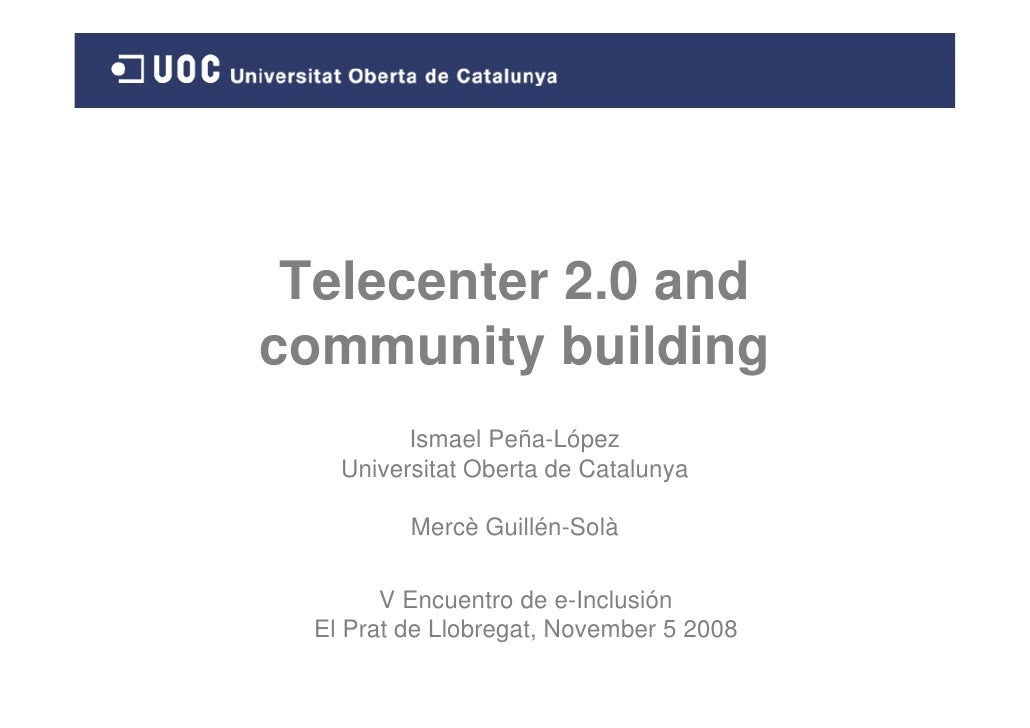 Telecenter 2.0 and community building