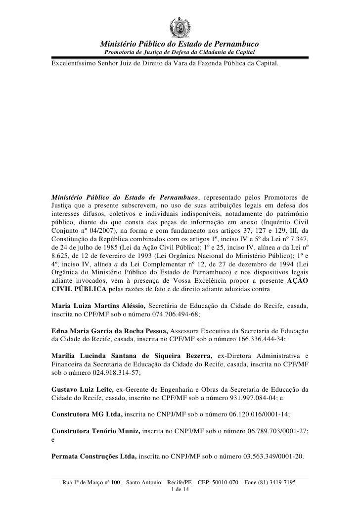 Ministério Público do Estado de Pernambuco                    Promotoria de Justiça de Defesa da Cidadania da Capital Exce...