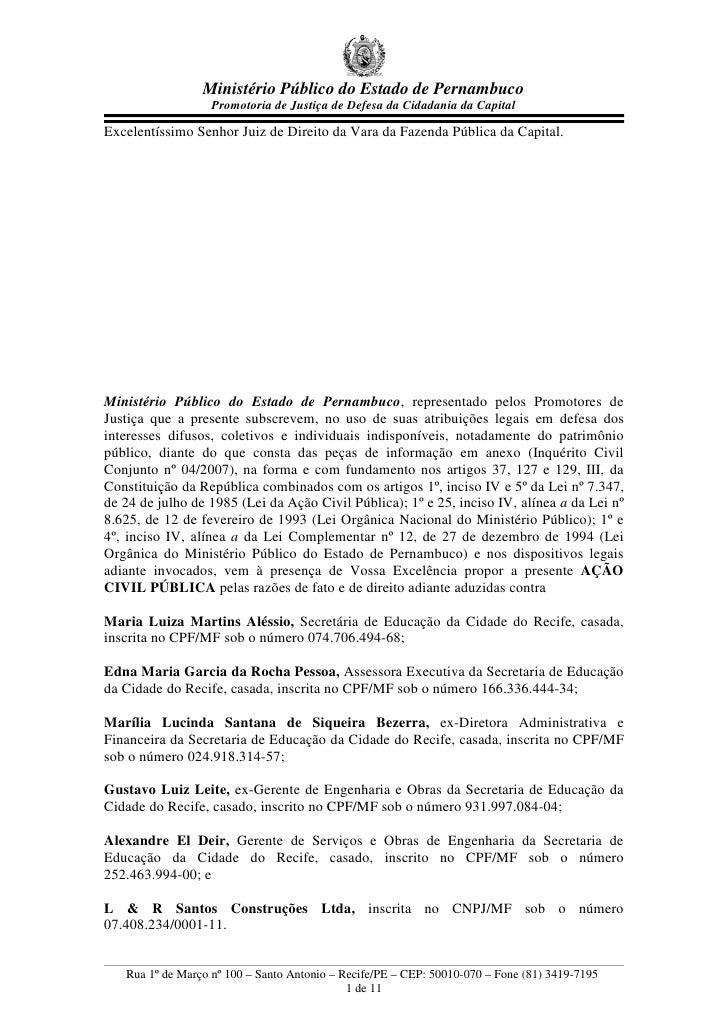 Ministério Público do Estado de Pernambuco                    Promotoria de Justiça de Defesa da Cidadania da Capital  Exc...