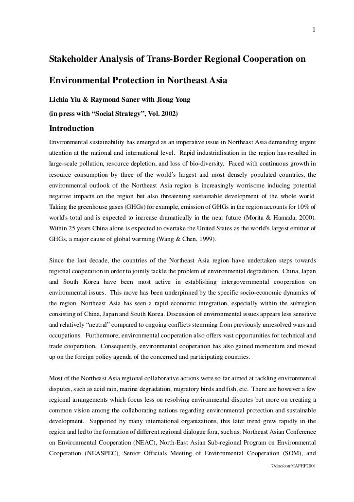 1Stakeholder Analysis of Trans-Border Regional Cooperation onEnvironmental Protection in Northeast AsiaLichia Yiu & Raymon...