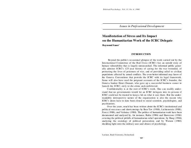 Political Psychology, Vol. 11, No. 4, 1990                      Issues in Professional DevelopmentManifestation of Stress ...