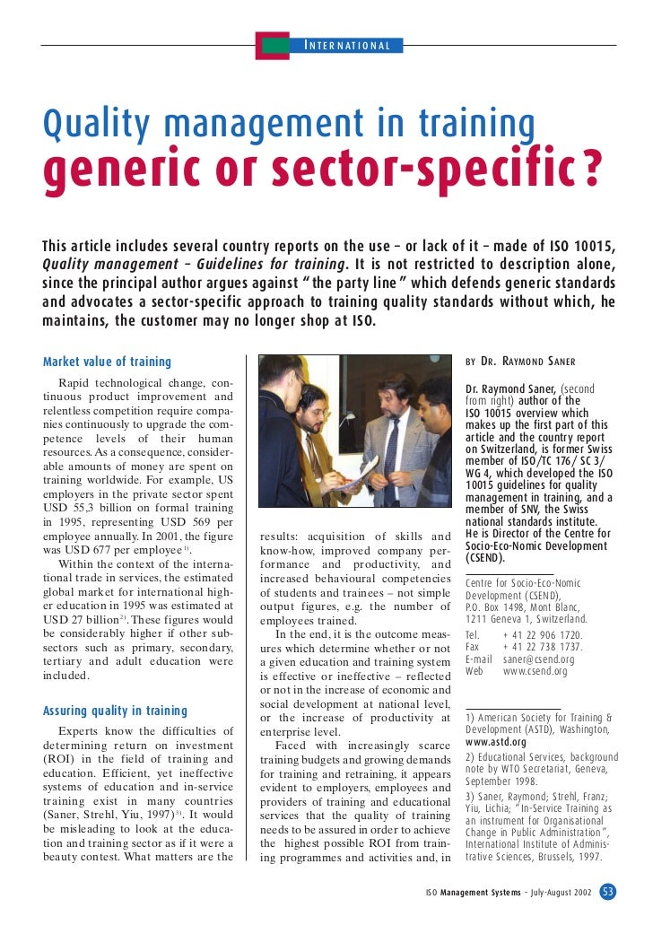 I N TE RN ATI O NALQuality management in traininggeneric or sector-specific ?This article includes several country reports...