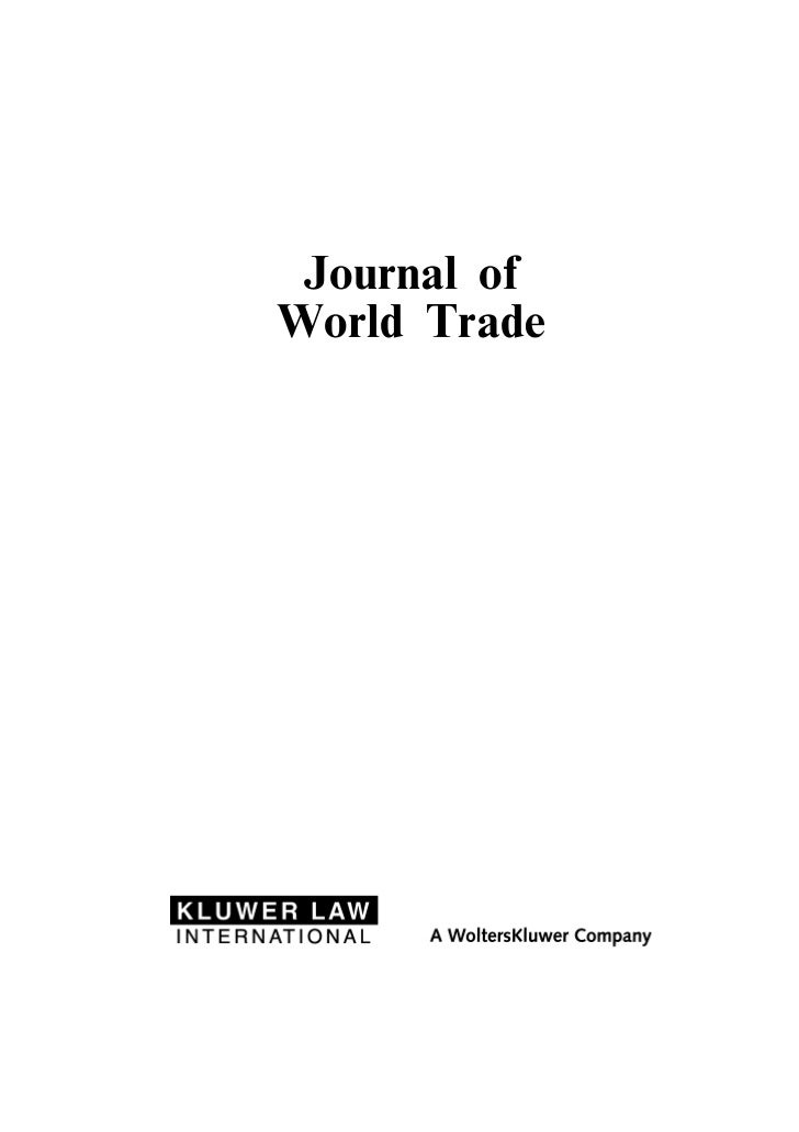 Journal ofWorld Trade