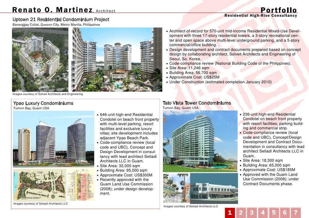 Renato O. Mar tinez , Architect                                                                                           ...