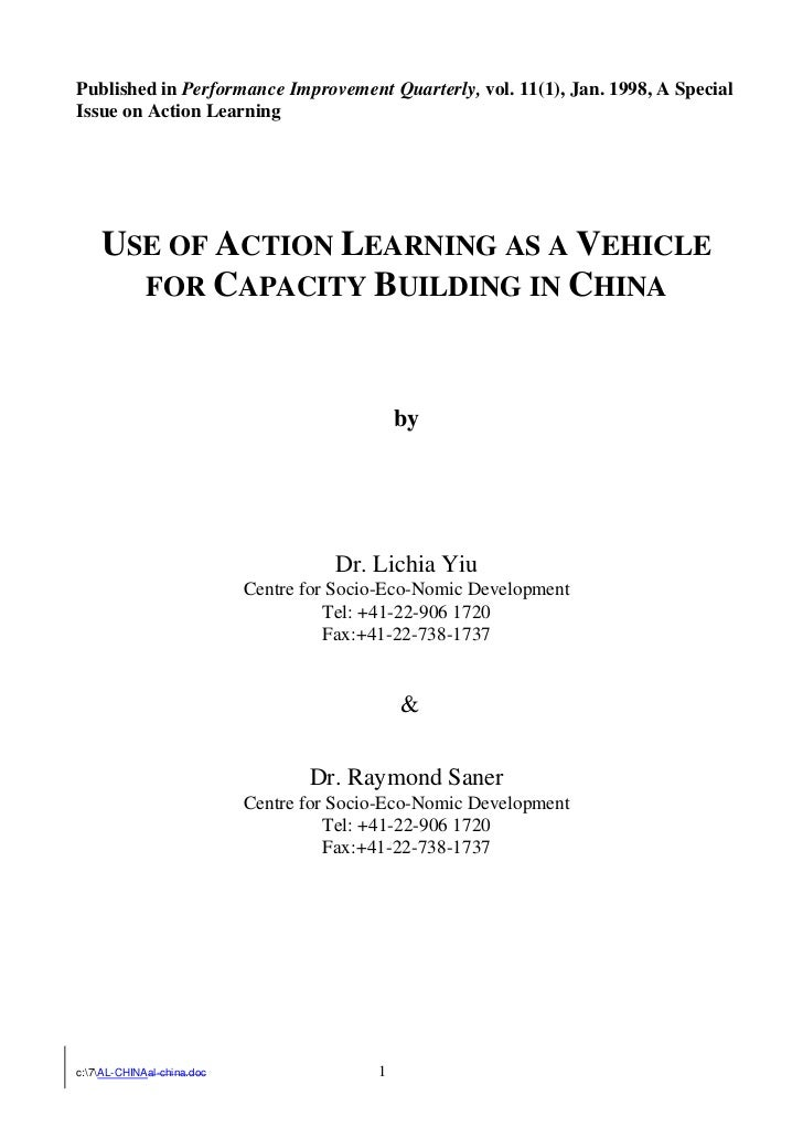 Published in Performance Improvement Quarterly, vol. 11(1), Jan. 1998, A SpecialIssue on Action Learning    USE OF ACTION ...