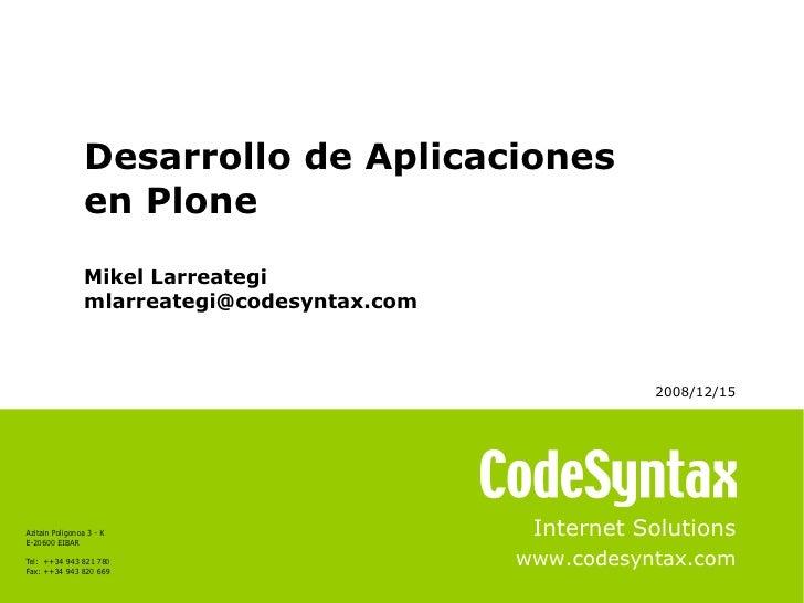 Desarrollo Aplicaciones Plone