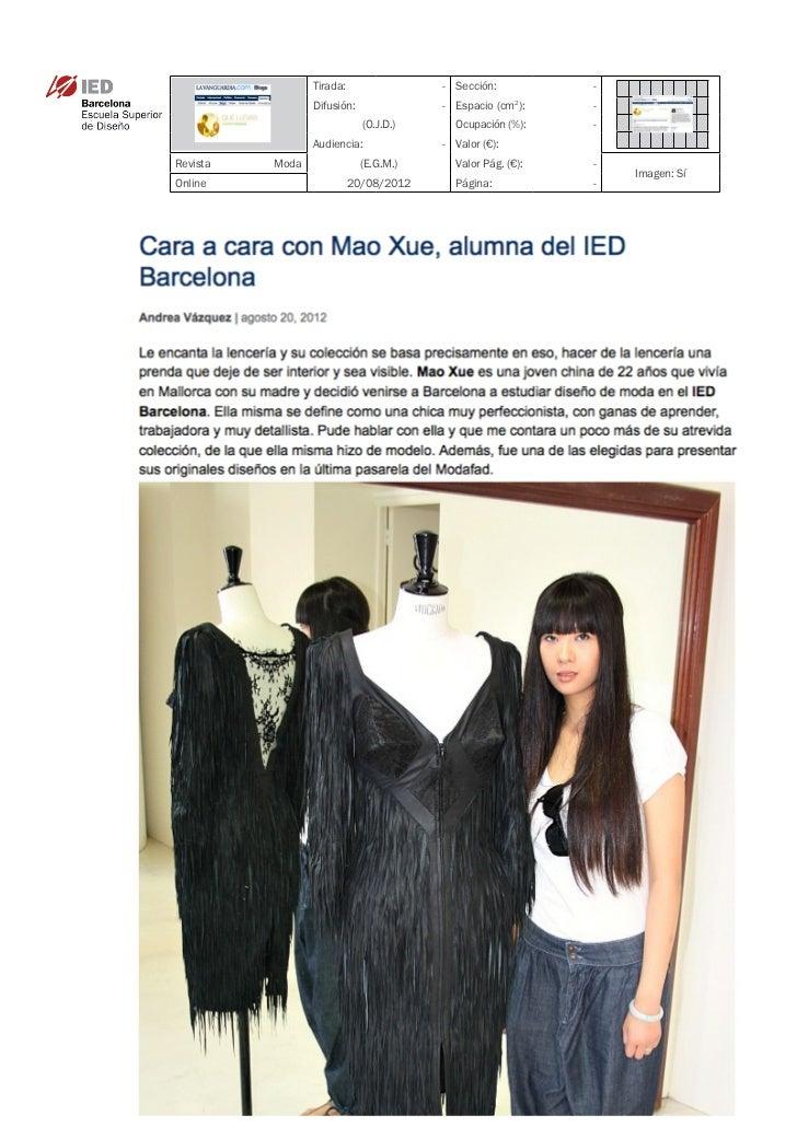 Clipping La Vanguardia - Que llevas 20/08/12 @ IED Barcelona