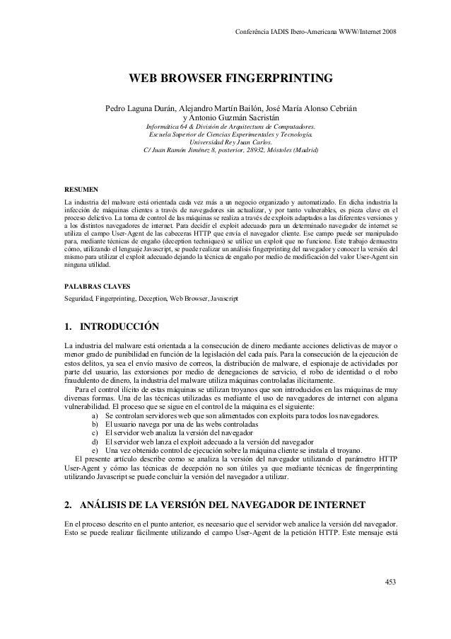 WEB BROWSER FINGERPRINTING Pedro Laguna Durán, Alejandro Martín Bailón, José María Alonso Cebrián y Antonio Guzmán Sacrist...