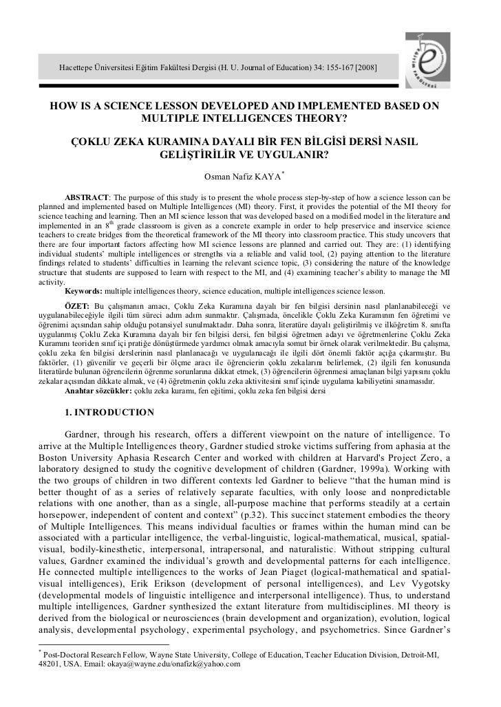 Hacettepe Üniversitesi Eğitim Fakültesi Dergisi (H. U. Journal of Education) 34: 155-167 [2008]    HOW IS A SCIENCE LESSON...