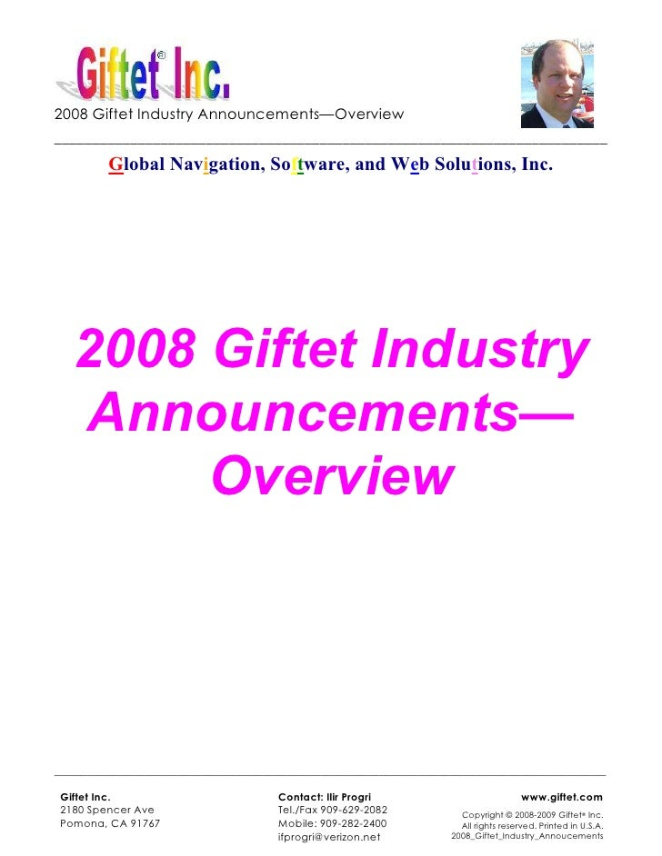 2008 Giftet Industry Announcements