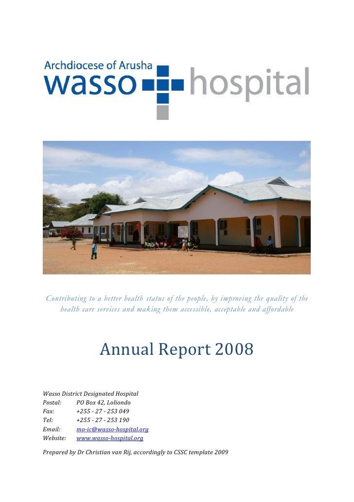 2008 Annual Report Wasso Hospital, Ngorongoro, Tanzania