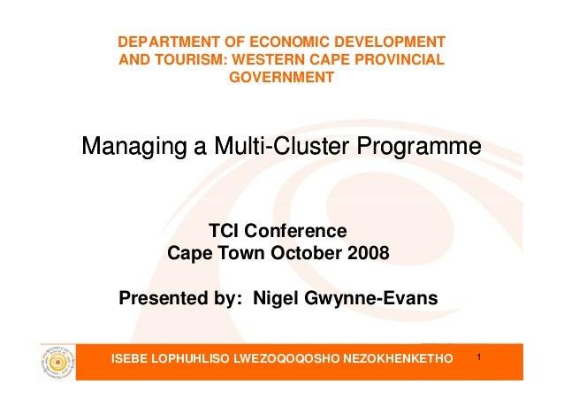 DEPARTMENT OF ECONOMIC DEVELOPMENTAND TOURISM: WESTERN CAPE PROVINCIALGOVERNMENTManaging a MultiManaging a Multi--Cluster ...