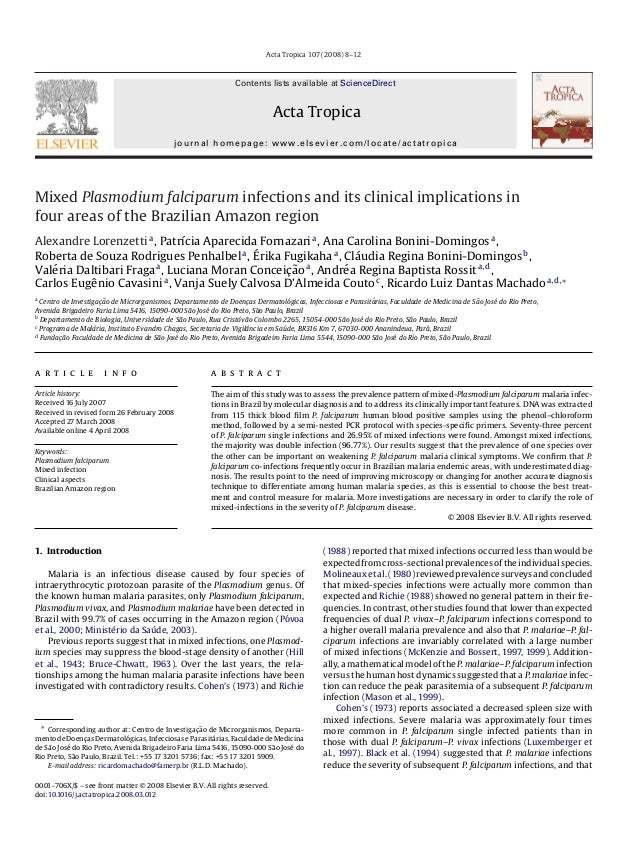 Acta Tropica 107 (2008) 8–12                                                               Contents lists available at Sci...