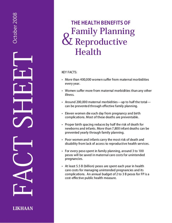 October 2008                        The Health Benefits of                        Family Planning                 &       ...
