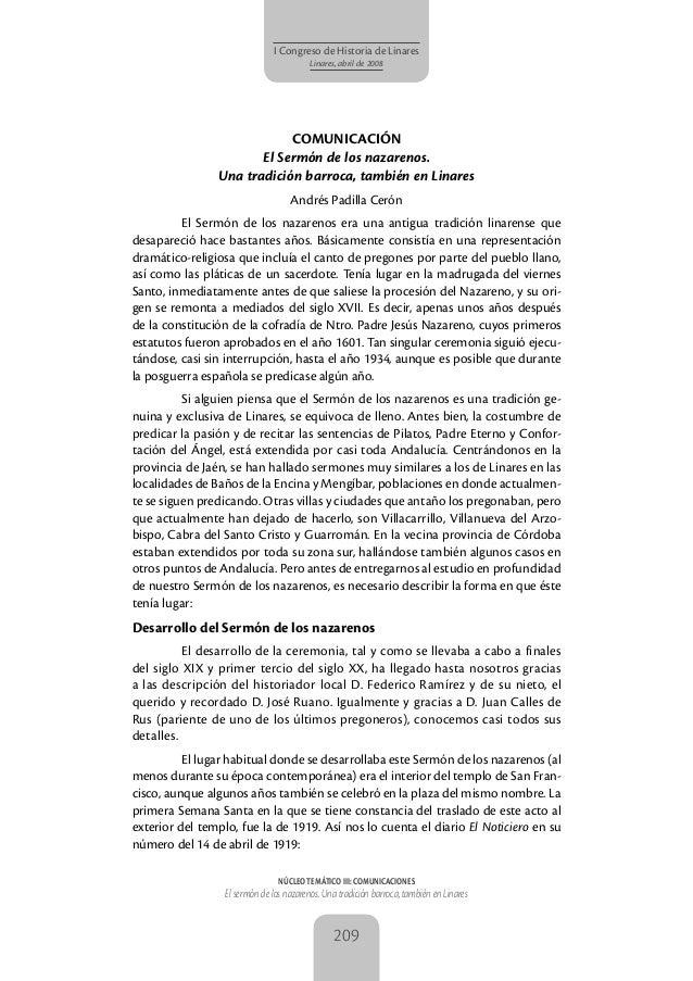NÚCLEO TEMÁTICO III: COMUNICACIONESEl sermón de los nazarenos. Una tradición barroca, también en Linares209I Congreso de H...