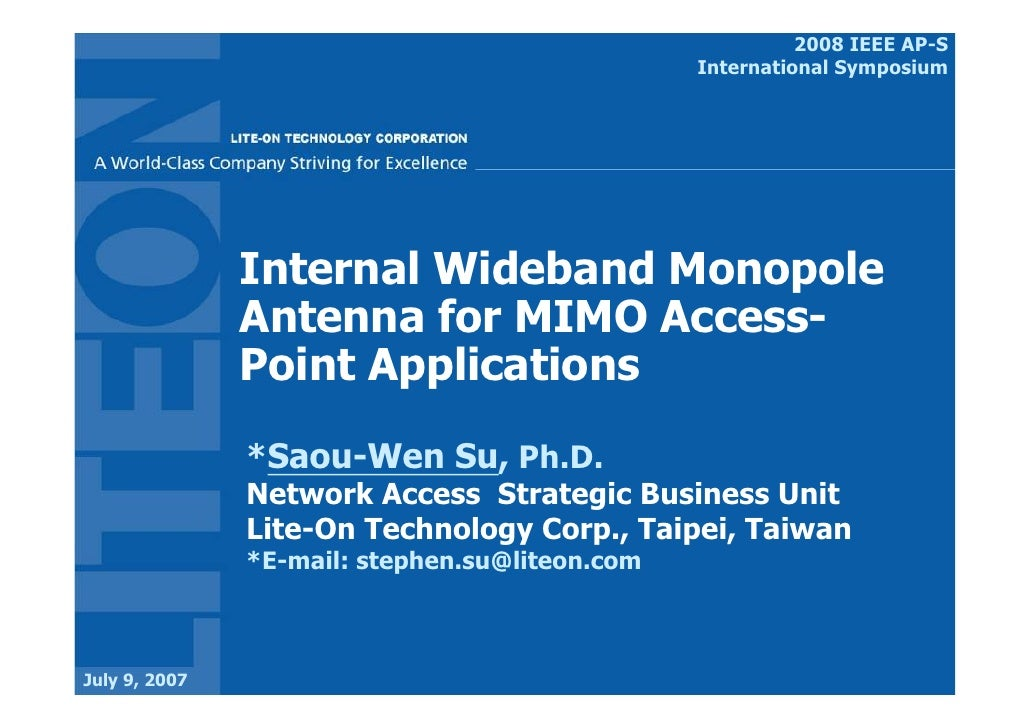 2008 IEEE AP-S-Internal Wideband Monopole Antenna For MIMO Access-Point Applications