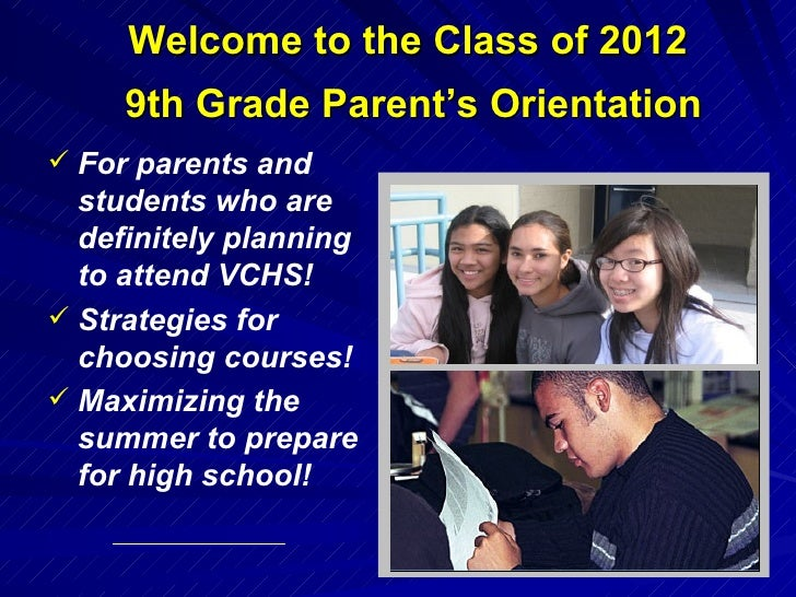 <ul><li>For parents and students who are definitely planning to attend VCHS! </li></ul><ul><li>Strategies for choosing cou...