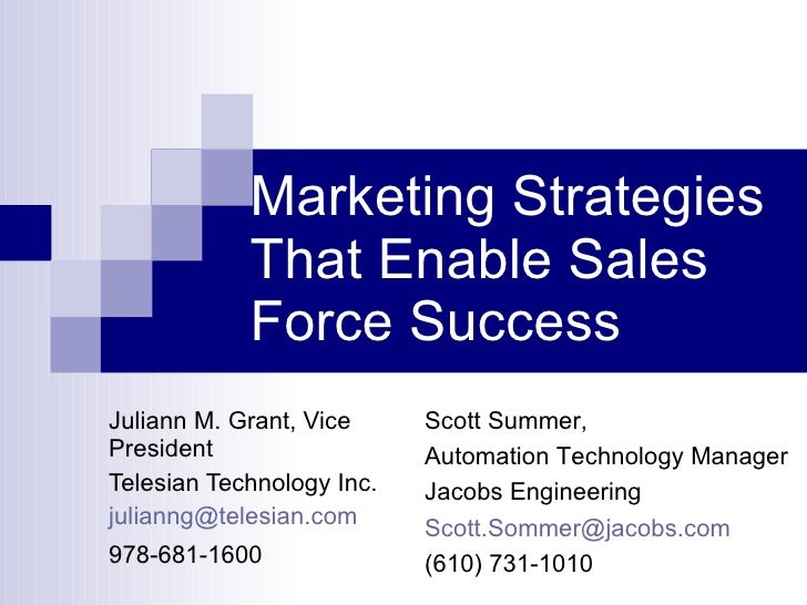 Marketing Strategies That Enable Sales Force Success Juliann M. Grant, Vice President Telesian Technology Inc. [email_addr...