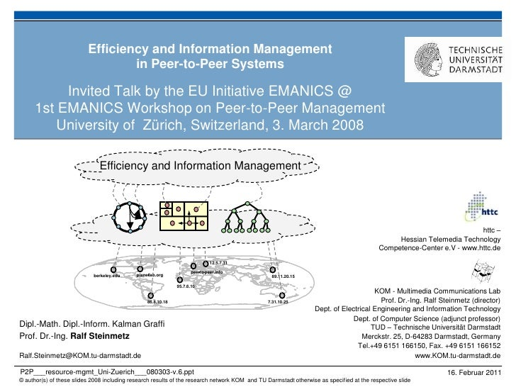 Efficiency and Information Management                                  in Peer-to-Peer Systems           Invited Talk by t...