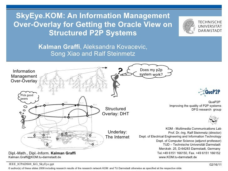 SkyEye.KOM: An Information Management Over-Overlay for Getting the Oracle View on Structured P2P Systems Kalman Graffi , A...