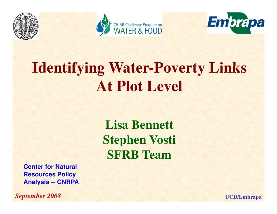Identifying Water Poverty Links                  Water-Poverty                At Plot Level                         Lisa B...