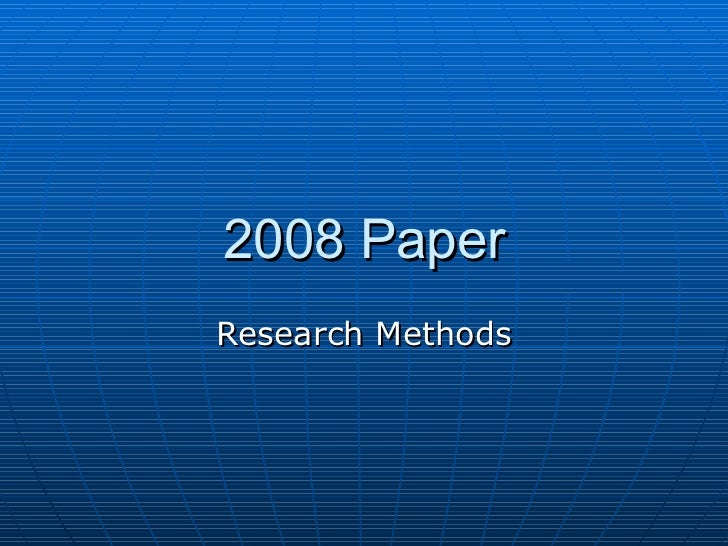 2008 Paper Research Methods