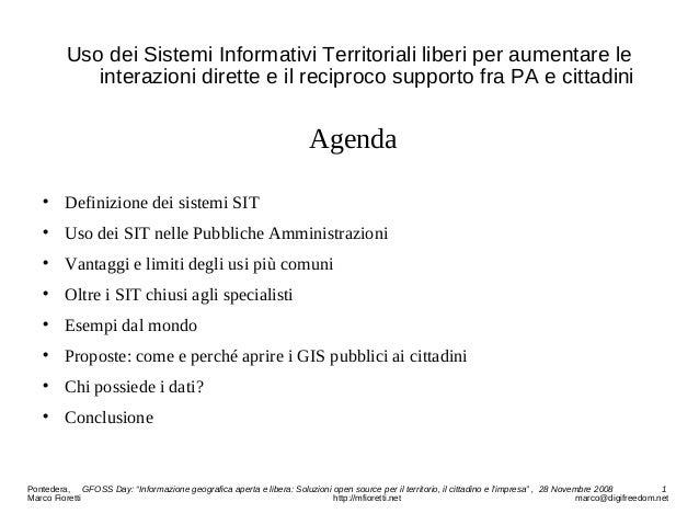 Uso dei Sistemi Informativi Territoriali liberi per aumentare le interazioni dirette e il reciproco supporto fra PA e citt...