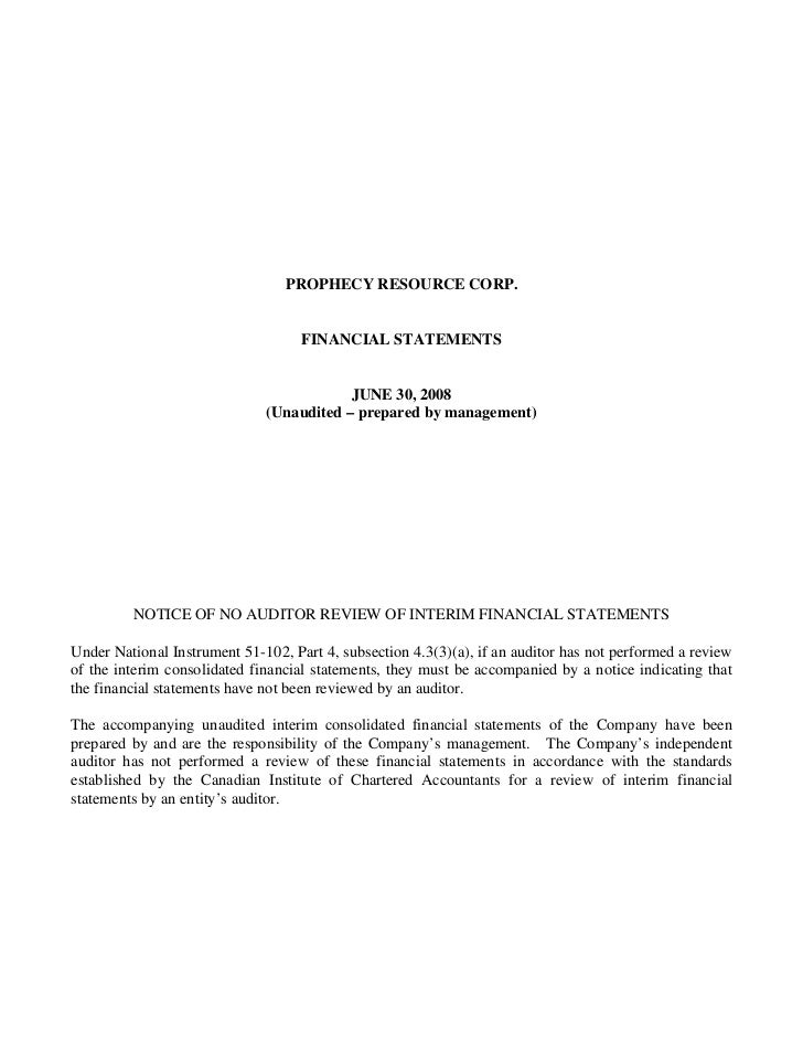 2008 Q3 interim financial statements
