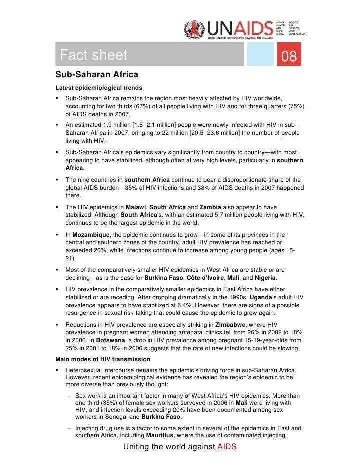 Fact sheet                                                                         08 Sub-Saharan Africa Latest epidemiolo...