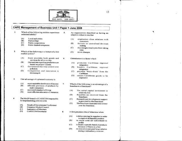 Economics Cape Unit 1 Past Papers