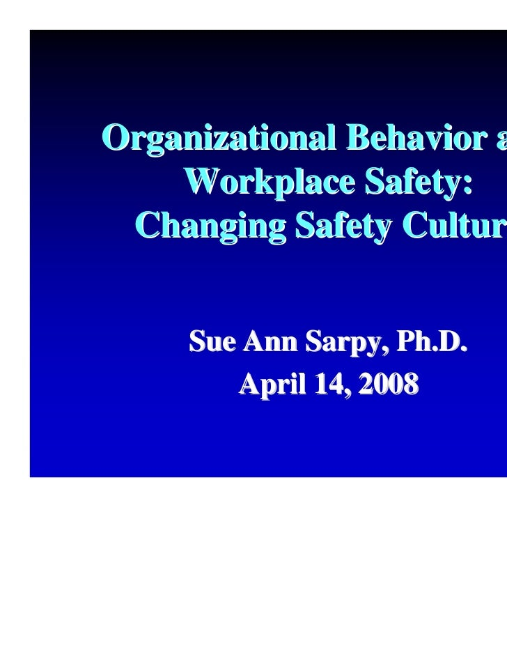 Organizational Behavior and    Workplace Safety: Changing Safety Culture     Sue Ann Sarpy, Ph.D.        April 14, 2008