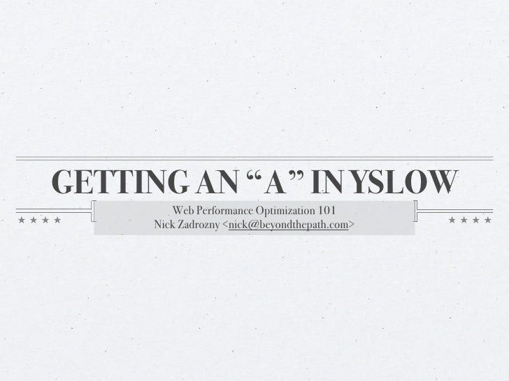 """Earning an """"A"""" in YSlow"""