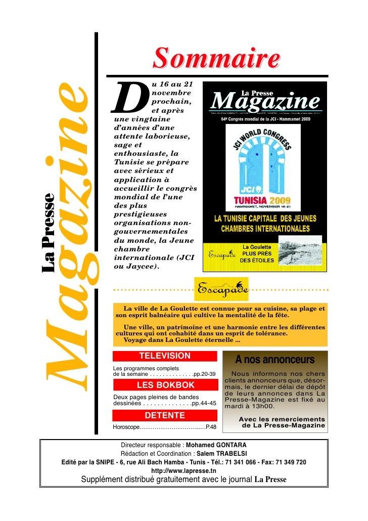 Sommaire Magazine            D                               u 16 au 21                               novembre            ...