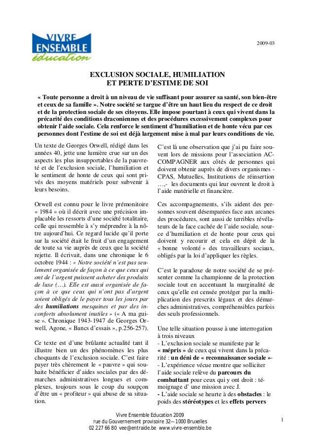 1 2009-03 EXCLUSION SOCIALE, HUMILIATION ET PERTE D'ESTIME DE SOI « Toute personne a droit à un niveau de vie suffisant po...