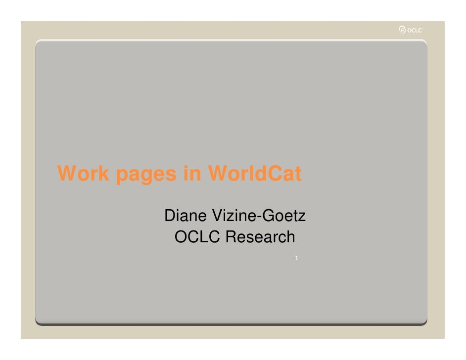 Work Pages in WorldCat