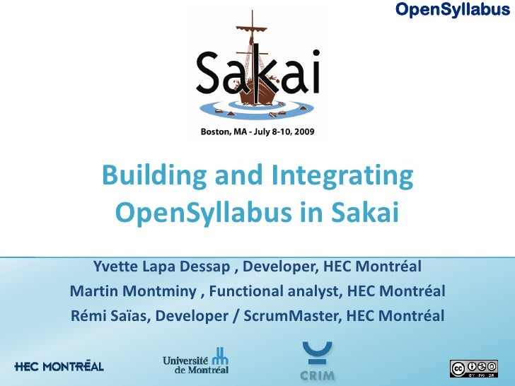 Building and Integrating OpenSyllabus in Sakai