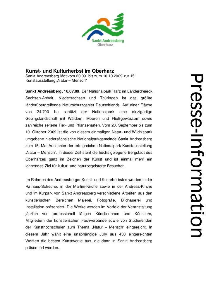 """Kunst- und Kulturherbst im OberharzSankt Andreasberg lädt vom 20.09. bis zum 10.10.2009 zur 15.Kunstausstellung """"Natur – M..."""