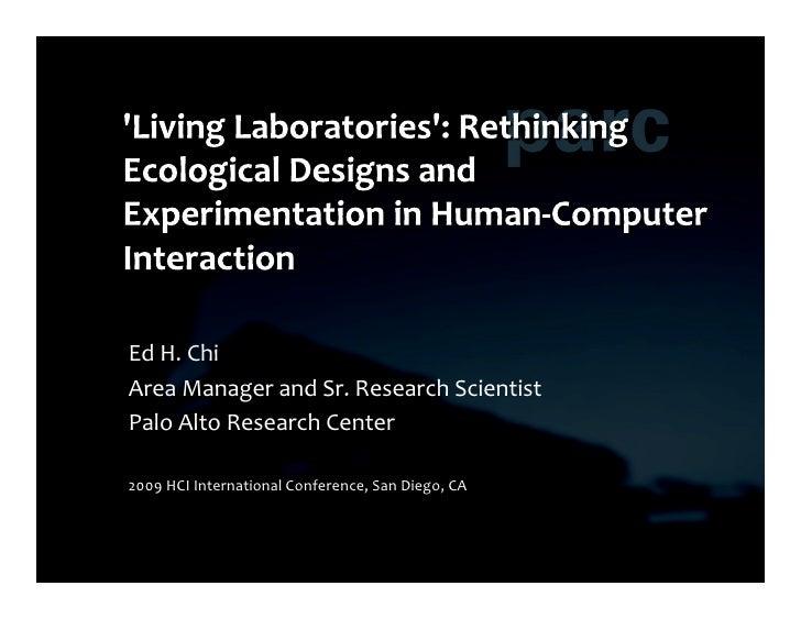 'Living Lab' for HCI - presentation made at HCI International 2009