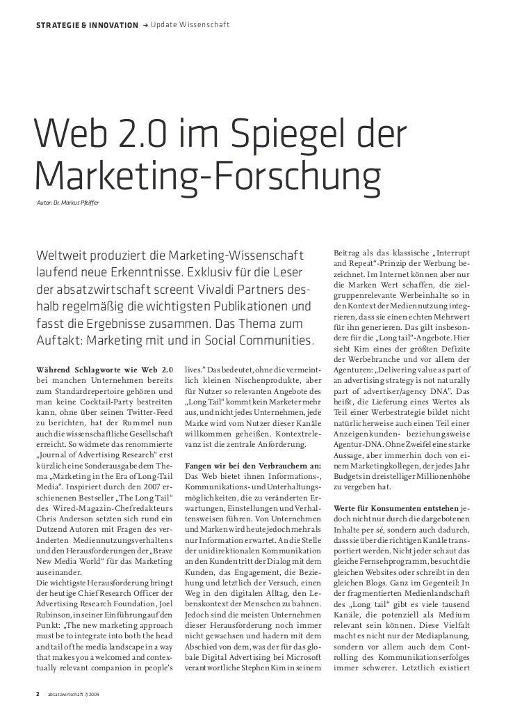Strategie & innovation → Update WissenschaftWeb 2.0 im Spiegel derMarketing-ForschungAutor: Dr. Markus Pfeiffer           ...